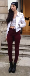 london fashion week asian girl bonnet entier